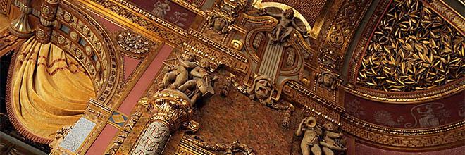 Детали декора стен Большого Зала Музыкальной Академии имени Ференца Листа, Будапешт