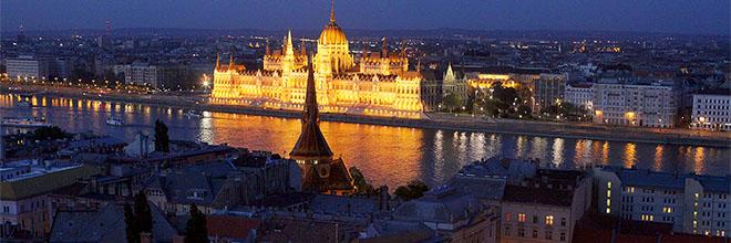 Ночной Парламент с Рыбацкого Бастиона, Будапешт, Венгрия