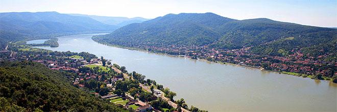 Излучина Дуная с Вишеградского замка, вверх по реке